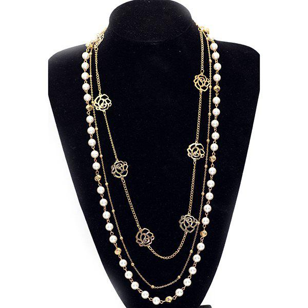 Rose Faux Pearl Layered Sweater Chain - GOLDEN