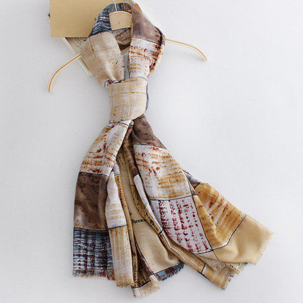 Fashion Britain Style Fringed Edge Plaid Doodle Pattern Women's Scarf - EARTHY