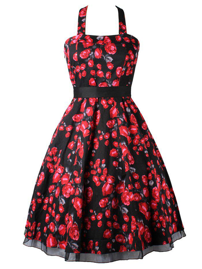 Vintage Halter Neck Open Back Floral Dress For Women - BLACK 2XL