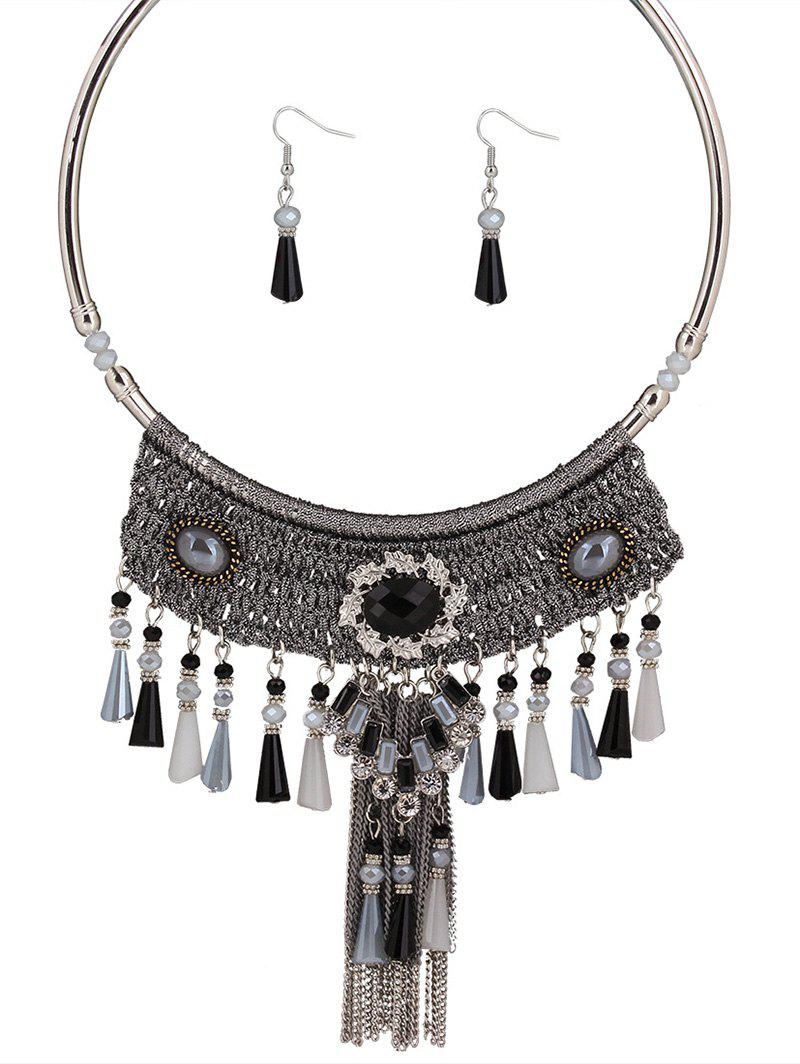 Retro Handmade Knitted Faux Crystal Multicolor Tassel Necklace Set For Women - GRAY