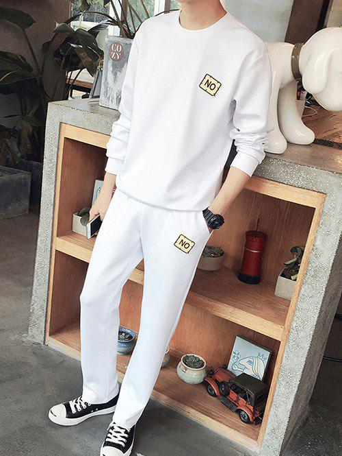 Round Neck Applique Plus Size Long Sleeve Men's Sport Suit ( Sweatshirt + Pants )