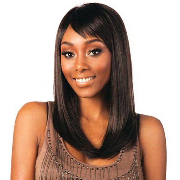 Sweet Human Hair Long Tail Adduction Straight Side Bang Capless Wig For Women - MEDIUM BROWN