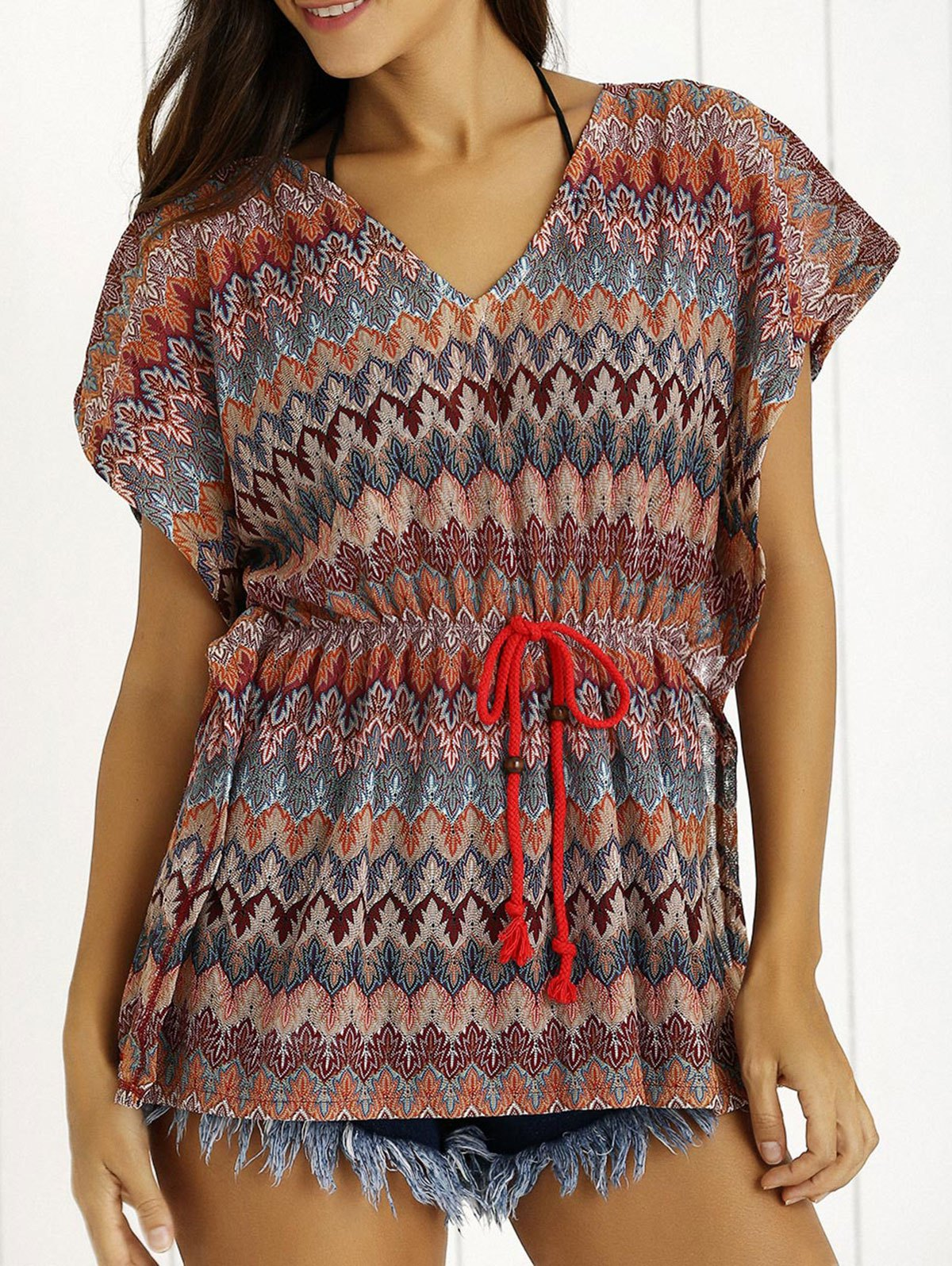 Ethnic Striped Drawsting Design Tee - COLORMIX ONE SIZE