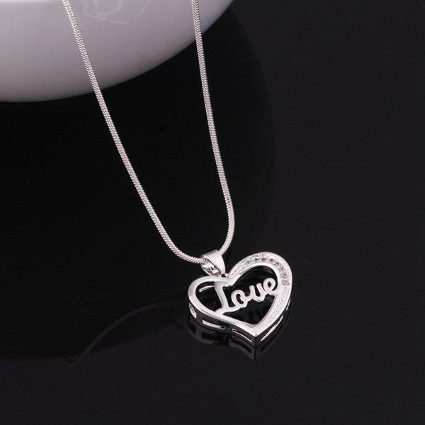Chic Engraved Love Heart Necklace For Women