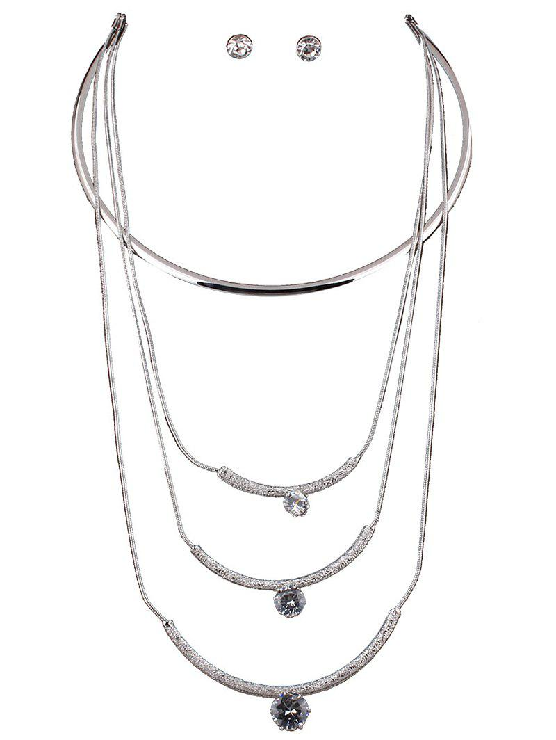 Multilayered Rhinestone Charm Necklace Set - SILVER