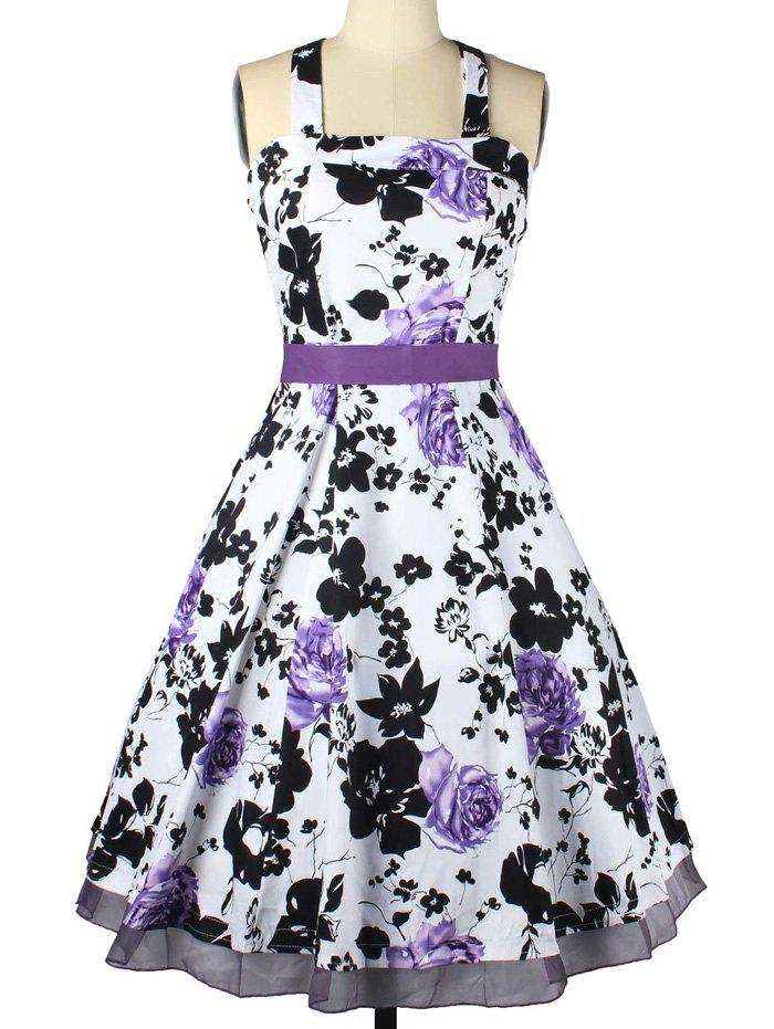 Vintage Halter Neck Bowknot Floral Dress For Women - PURPLE XL