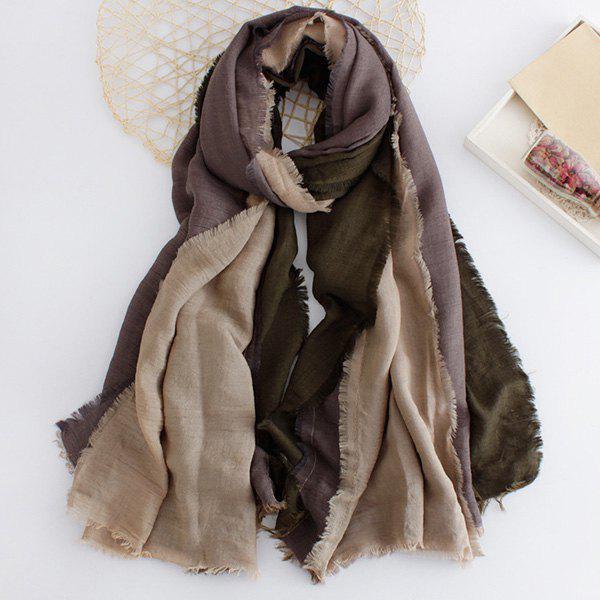 Mordern Literary Style Three Color Match Fringed Edge Women's Scarf - BLACKISH GREEN
