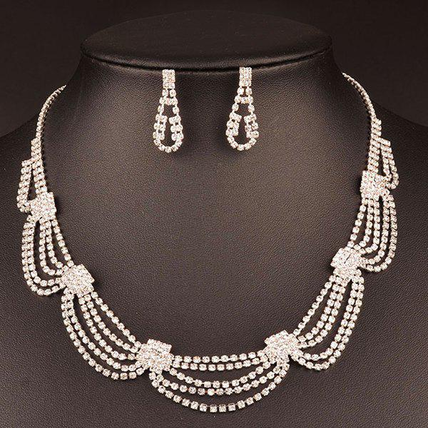 Rhinestone Hollow Out Wedding Jewelry Set - WHITE