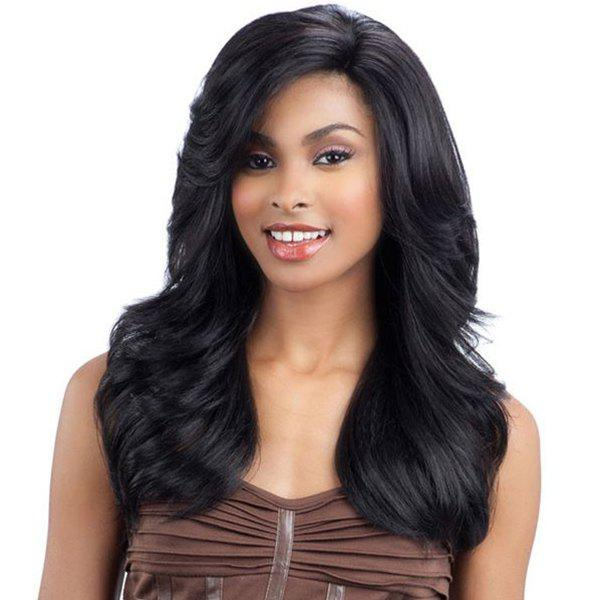 Sophisticated Human Hair Long Wavy Side Bang Capless Wig For Women - JET BLACK