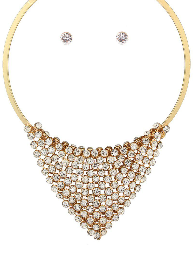 Delicate Cut Out Triangle Tiered Rhinestone Necklace Set For Women