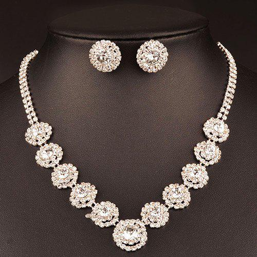 Rhinestoned Blossom Wedding Jewelry Set - WHITE