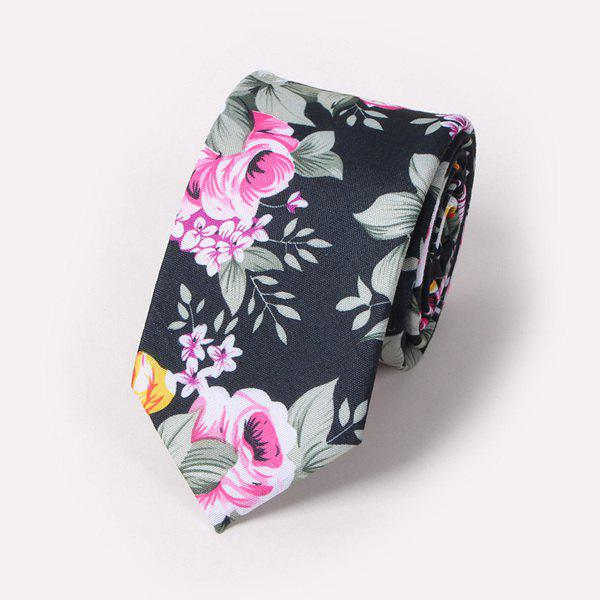 Fashion Flower and Leaf Painting 6CM Width Tie - BLACK