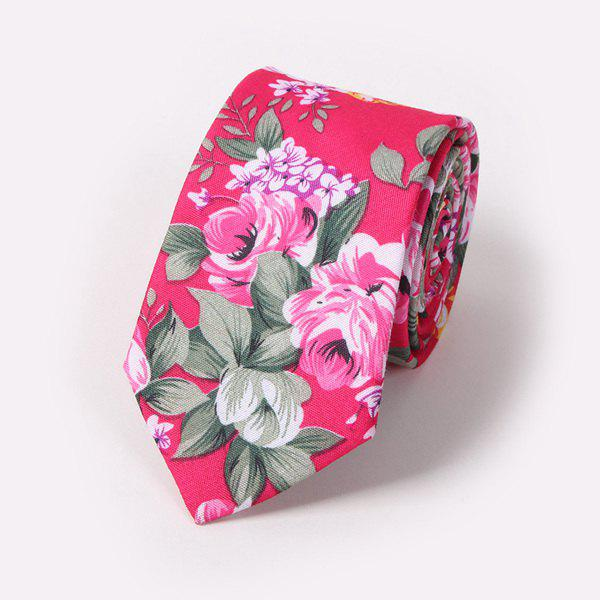 Fashion Flower and Leaf Painting 6CM Width Tie - ROSE