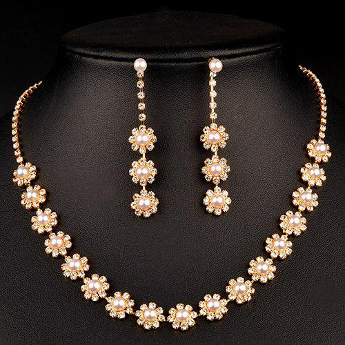A Suit of Gorgeous Faux Pearl Flower Wedding Jewelry Set For Women - GOLDEN