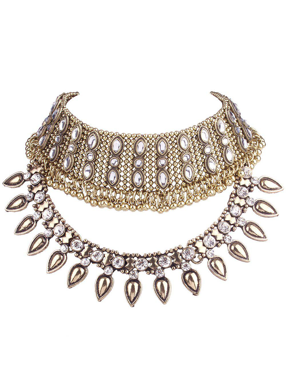 Teardrop Beads Rhinestone Choker -  GOLDEN