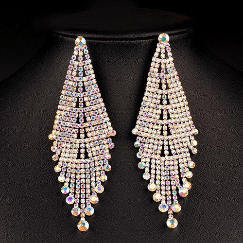 Geometry Rhinestoned Drop Earrings - GOLDEN