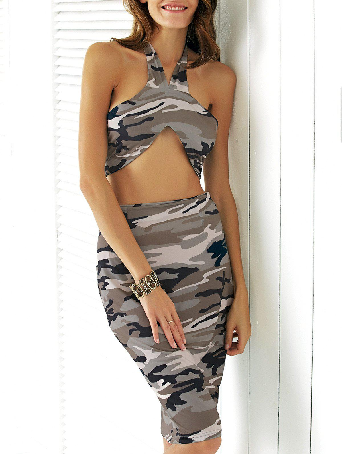 Camo Halter Crop Top + Skirt 2 Piece Club Bodycon Dress - URBAN CAMOUFLAGE XL
