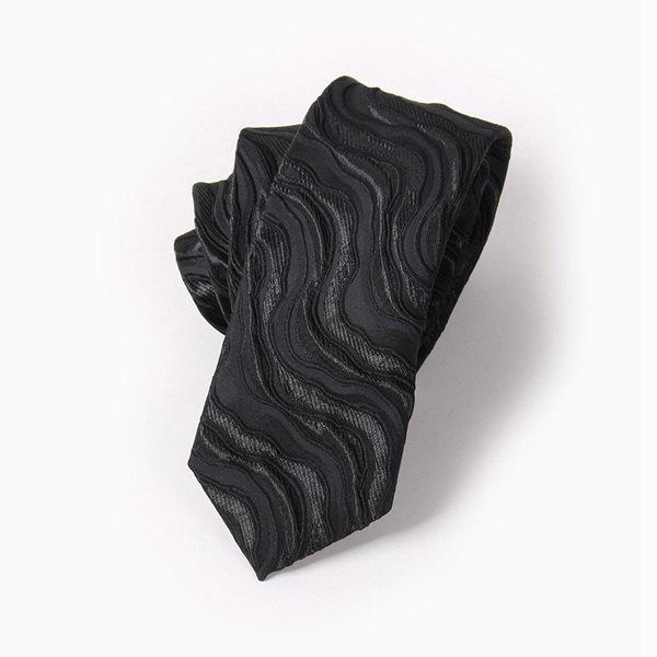 Fashion Curved River Stripe Jacquard Tie