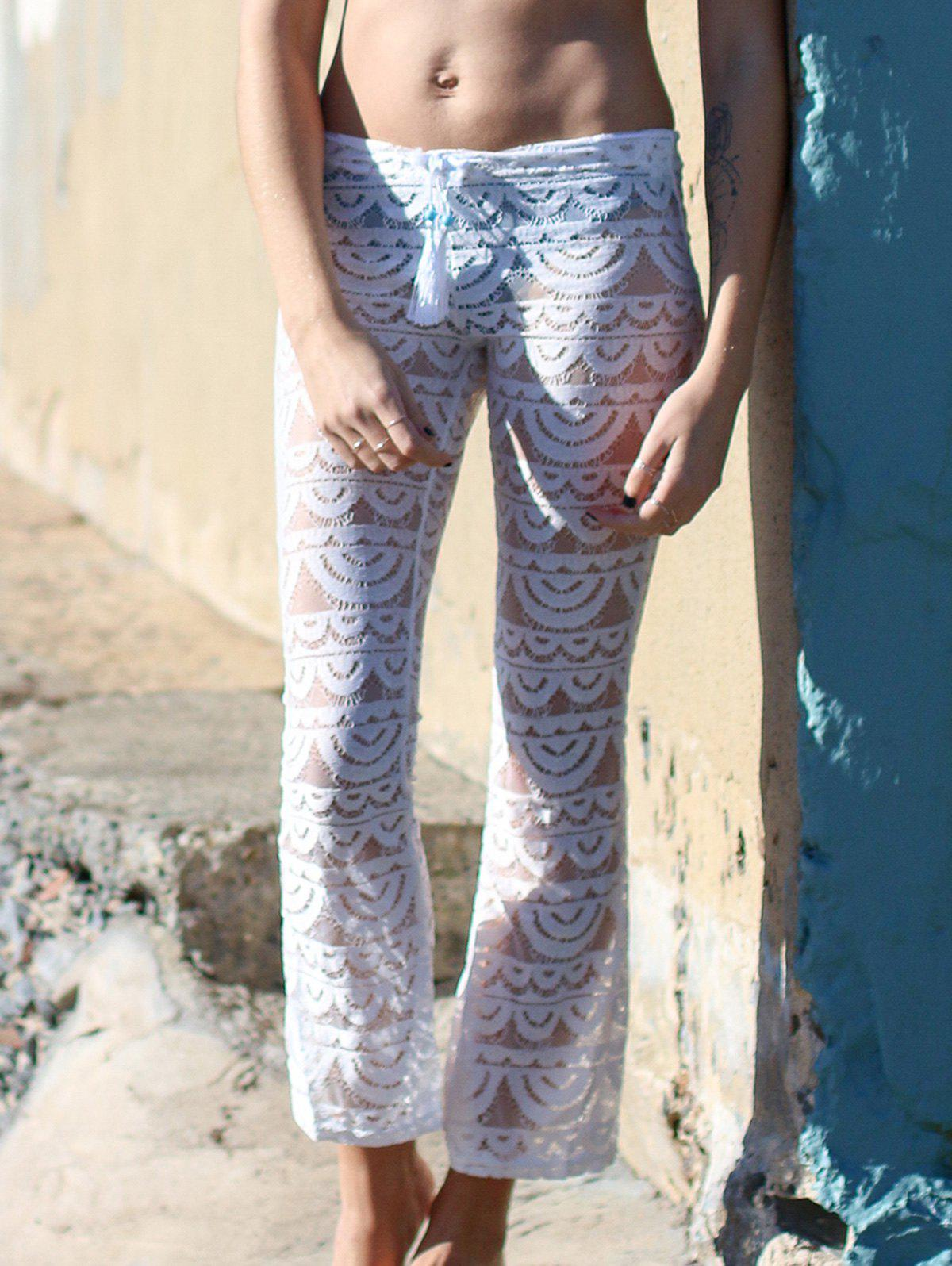 Stylish See-Through Solid Colour Women's Lace Pants - WHITE XL