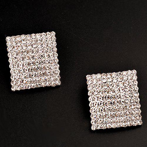 Pair of Adorn Rhinestoned Earrings - WHITE