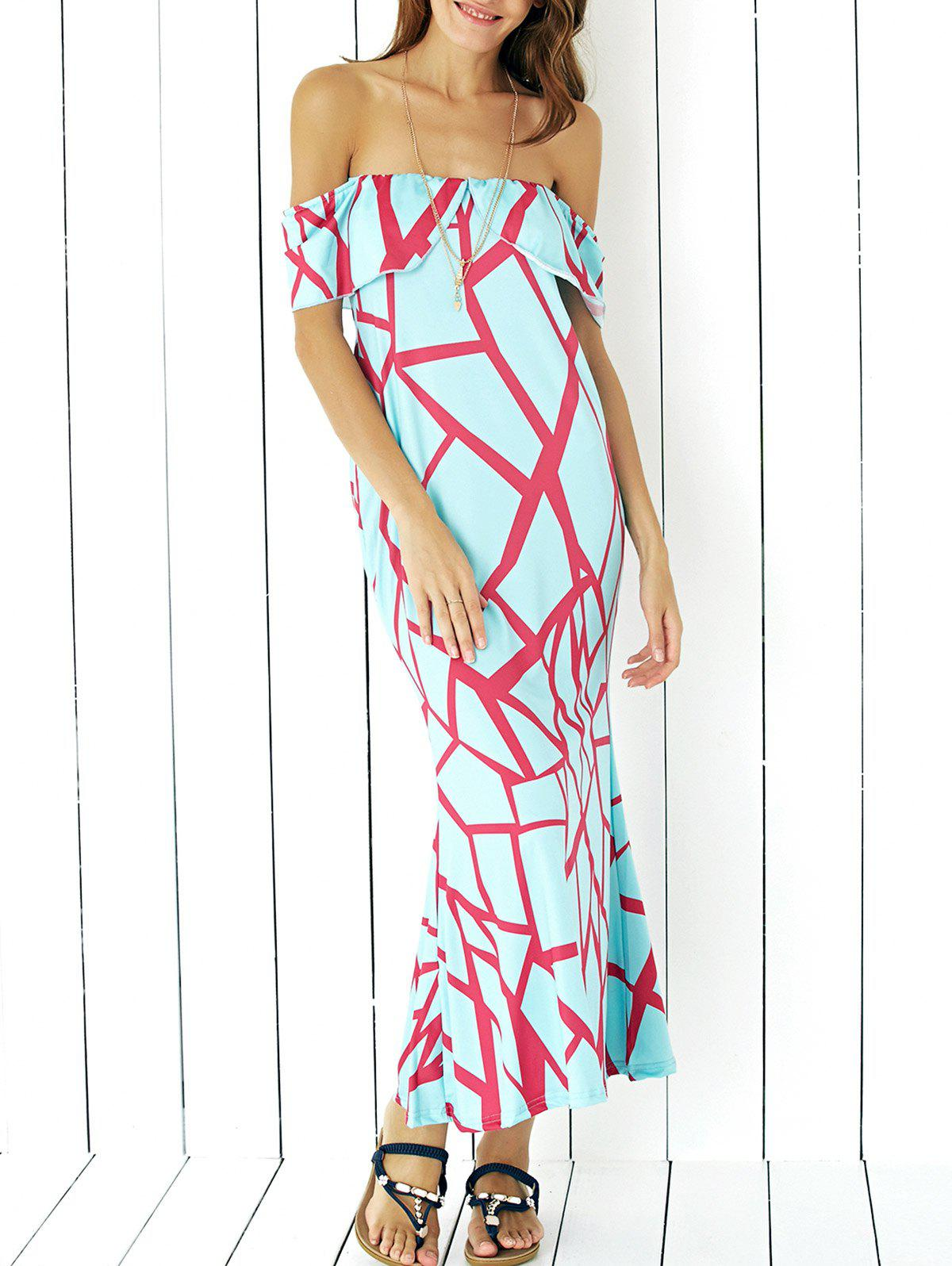 Chic Geometric Print Maxi Dress - MINT GREEN XL