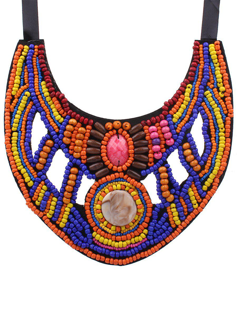 Cut Out Beaded Ribbon Bib Necklace - COLORFUL