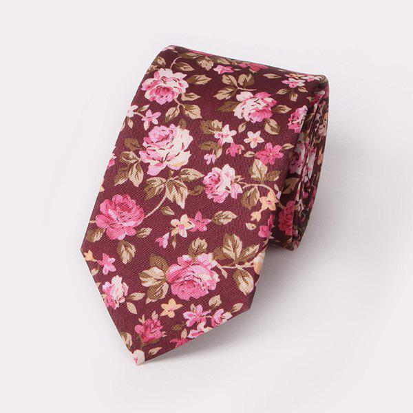 Fashion Small Rose Pattern Wedding Party Tie - WINE RED