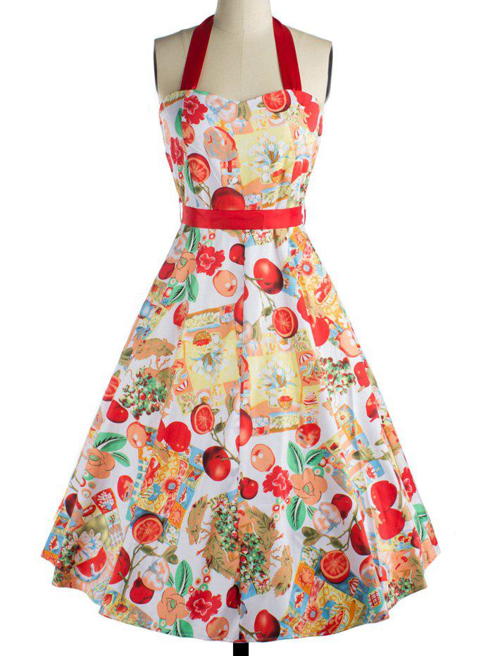 Retro Fruit Print Backless Tied Dress For Women - RED 2XL
