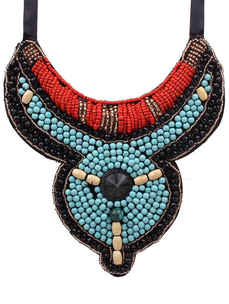 Retro Ribbon Faux Turquoise Beads Fake Collar Necklace For Women