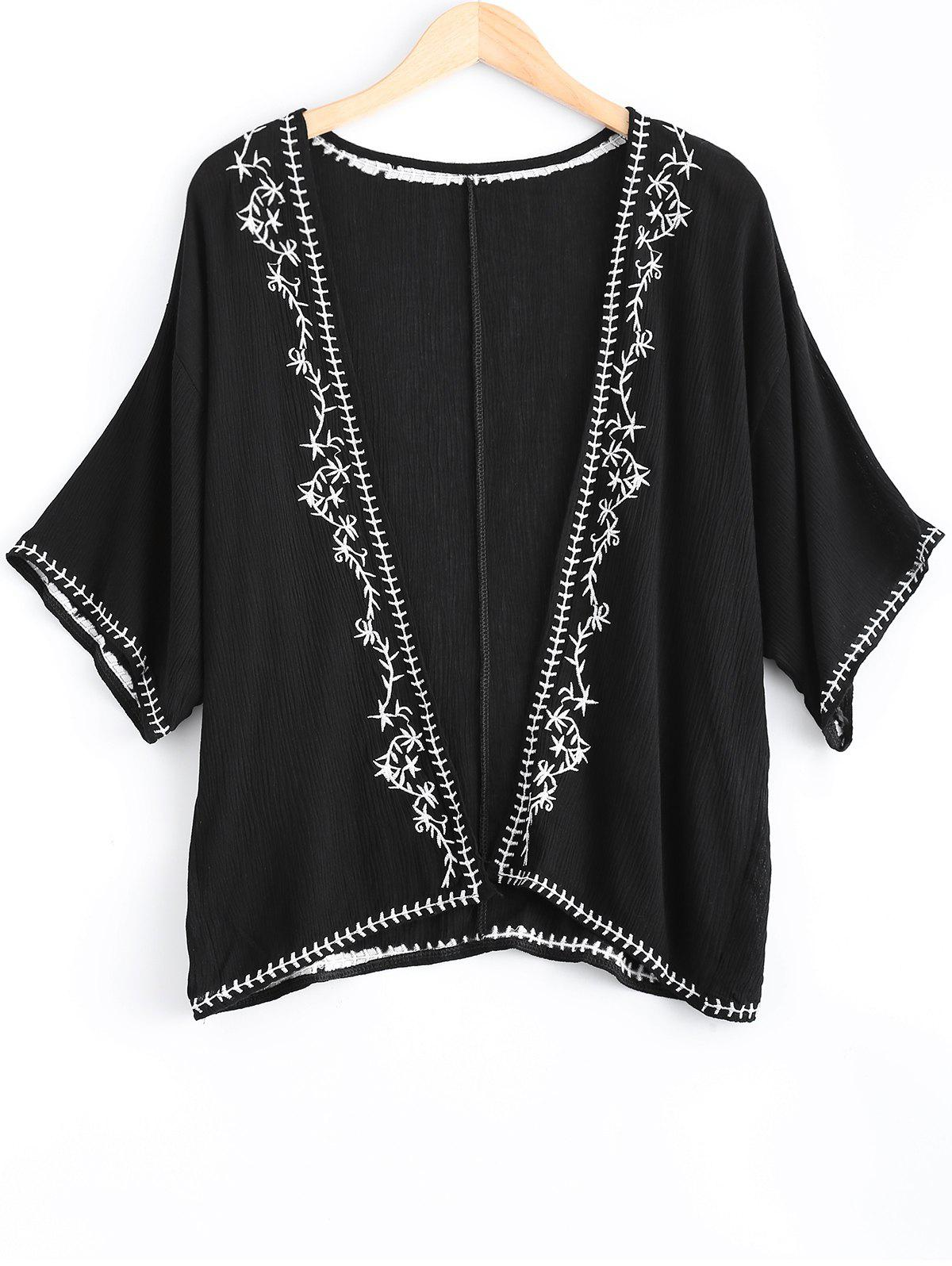 Loose-Fitting Embroidered Short Sleeves KimonoWomen<br><br><br>Size: ONE SIZE(FIT SIZE XS TO M)<br>Color: BLACK