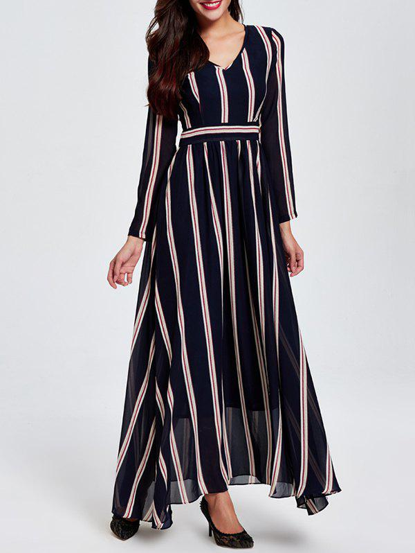 OL Vertical Stripe V Neck High Waist Maxi Dress - STRIPE 2XL