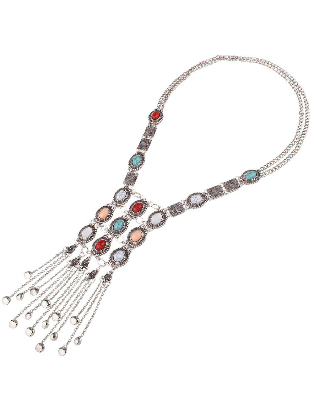 Vintage Carved Alloy Natural Stone Oval Multilayered Fringe Sweater Chain For Women - SILVER GRAY