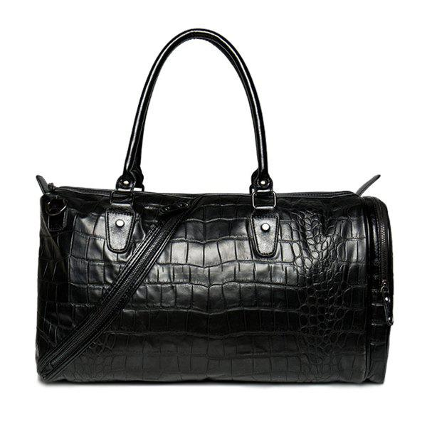 Stylish Crocodile Embossed and Black Design Men's Tote Bag - BLACK