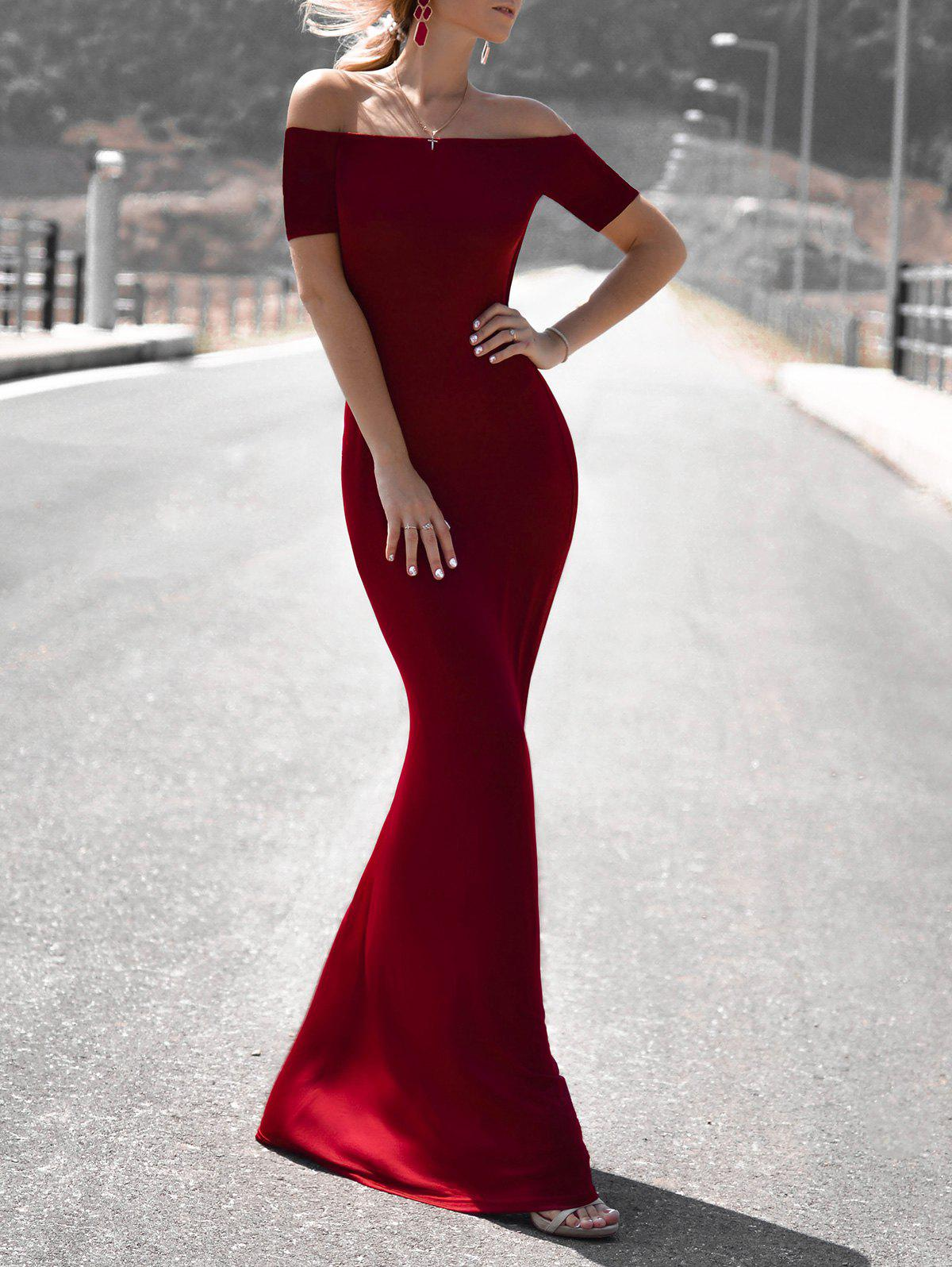 Women's Chic 3/4 Sleeve Off-The-Shoulder Pure Color Maxi Dress - WINE RED M
