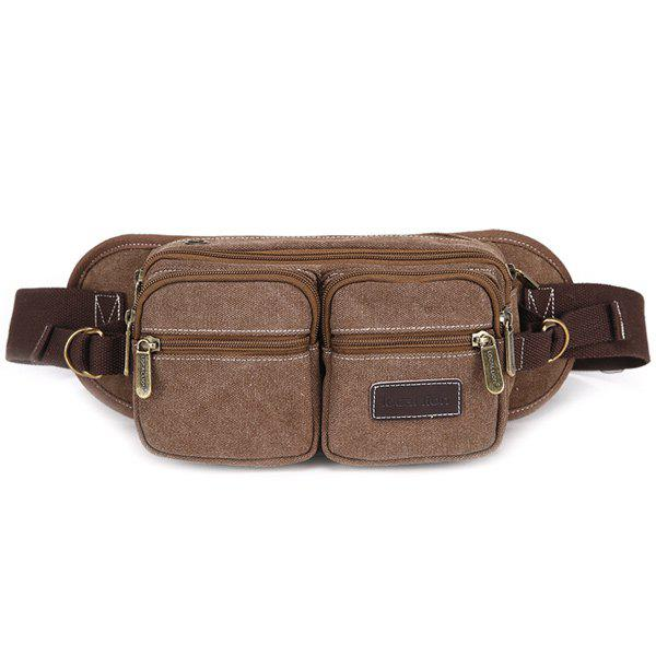 Concise Zippers and Canvas Design Men's Messenger Bag - COFFEE