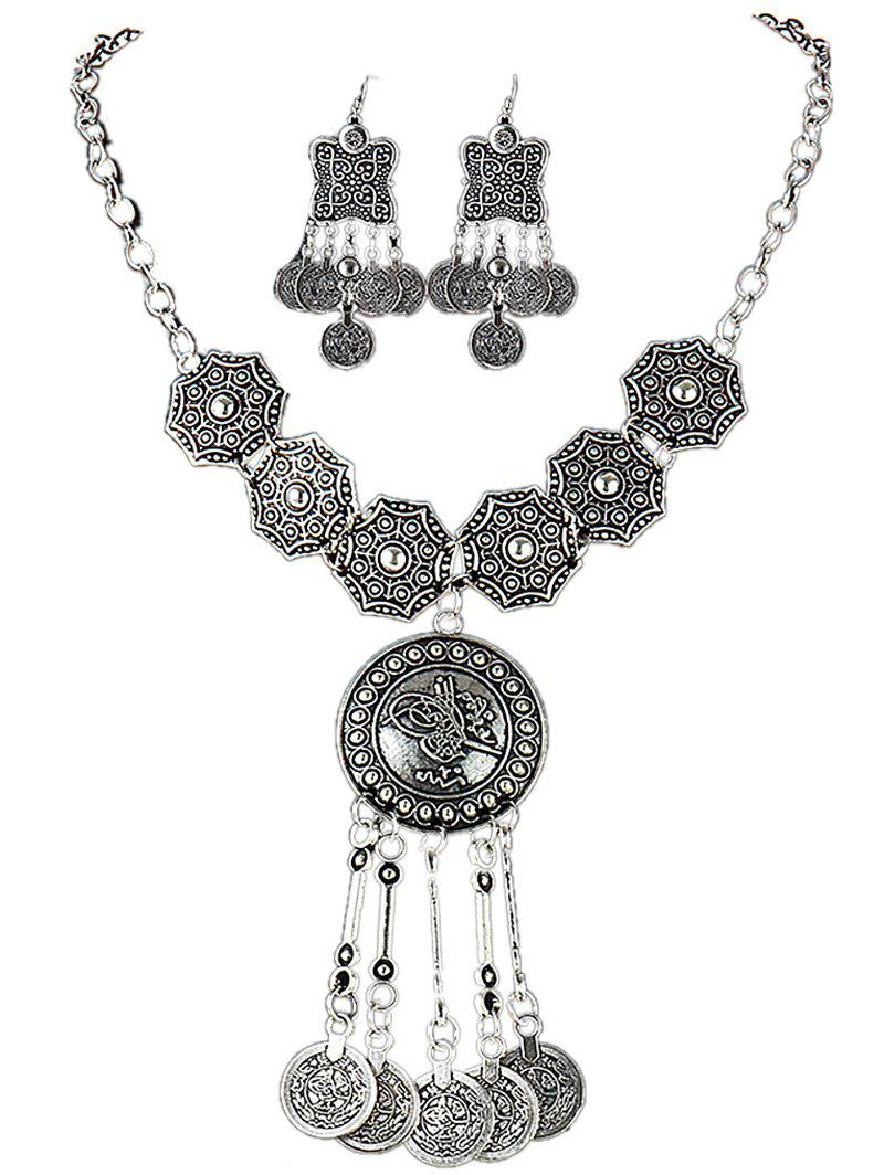 Silver Plated Carved Alloy Coin Tassel Statement Necklace Set - SILVER