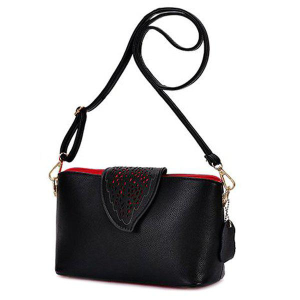 Fashionable Leaf Pattern and Hollow Out Design Women's Shoulder Bag - BLACK