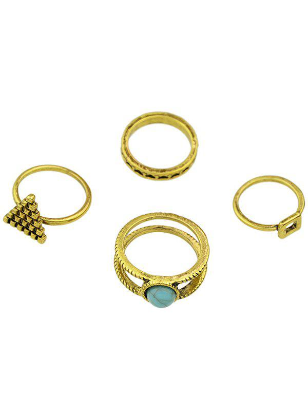 Gorgeous Faux Turquoise Geometric Rings