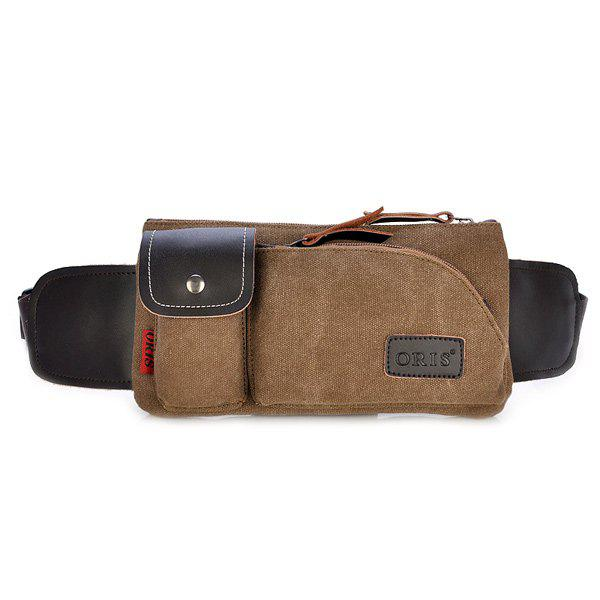 Simple Splicing and Magnetic Closure Design Men's Messenger Bag - COFFEE