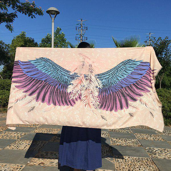 Magnificent Ethnic Style Angel Wings Feather Pattern Fringed Women's Shawl Wrap Scarf - LIGHT KHAKI