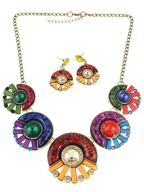 Bohemia Faux Crystal Round Necklace and Earrings - COLORMIX