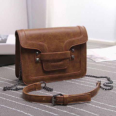 Stylish Metal Rivets and PU Leather Design Women's Shoulder Bag - BROWN