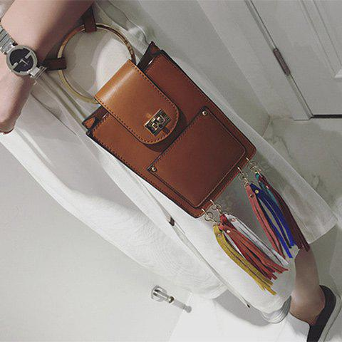 Fashionable Metal Ring and Tassels Design Women's Crossbody Bag