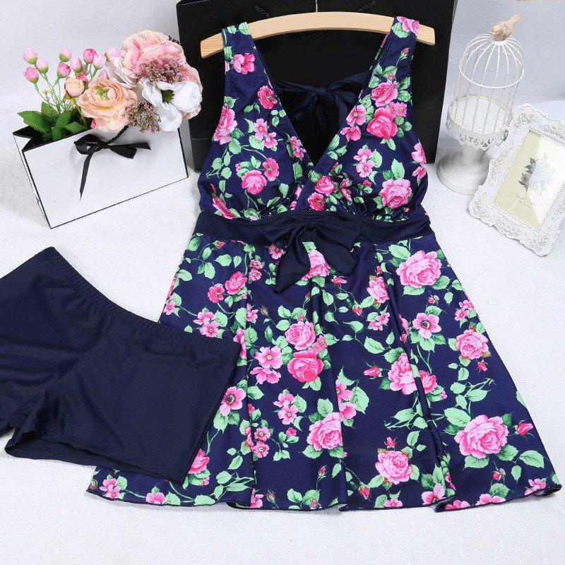 Vintage Plunging Neck Strappy Floral Printed Plus Size Women's Tankini Set