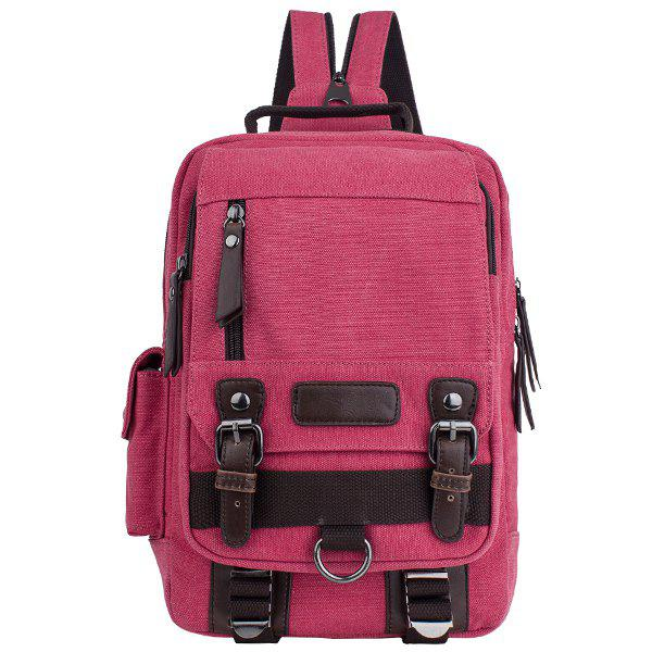 Stylish Canvas and Double Buckle Design Men's Backpack - CLARET