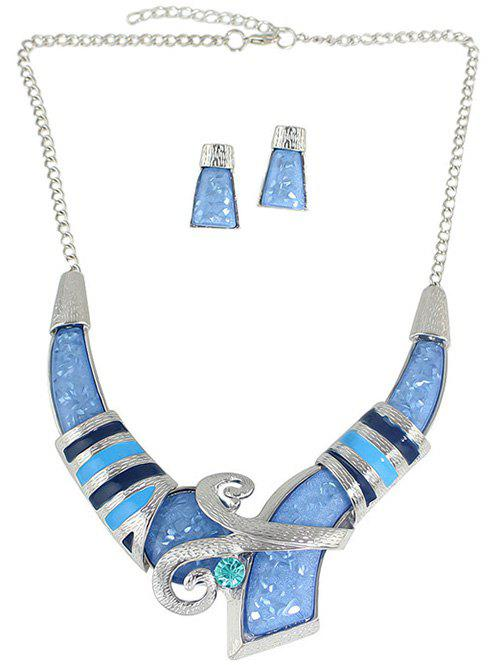 Bohemian Style Rhinestone Necklace and Earrings - BLUE