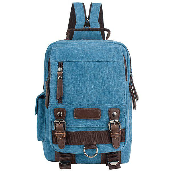 Stylish Canvas and Double Buckle Design Men's Backpack -  AZURE