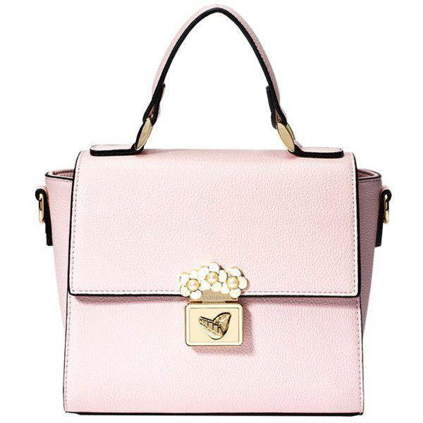 Stylish Metallic Hasp and PU Leather Design Women's Totes - PINK