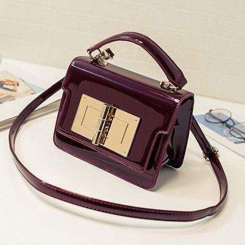 Stylish Metal and Patent Leather Design Women's Crossbody Bag - WINE RED