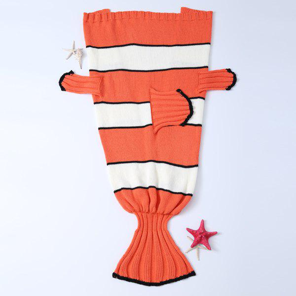 Hot Sale Cartoon Stripe Knitted Clownfish Blanket For Kids - ORANGE / WHITE